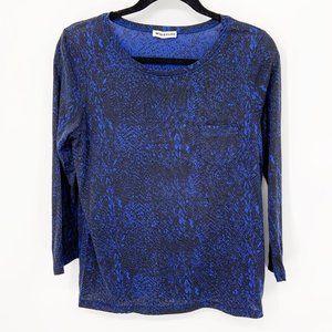 WHISTLES Snakeskin Print 3/4 Sleeve Tee Shirt Blue
